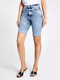 river-island-longline-denim-short-mid-blue