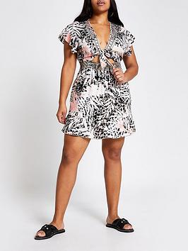 RI Plus Ri Plus Mixed Print Beach Dress - Brown Picture