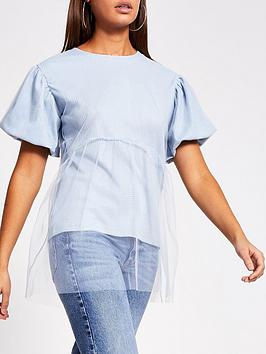 River Island River Island Mesh Layer T-Shirt - Blue Picture