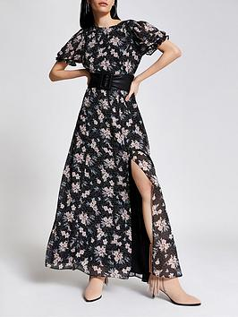River Island River Island Floral Chiffon Maxi Dress - Black Picture