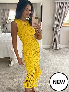 michelle-keegan-fluted-hem-lace-pencil-dress-yellow