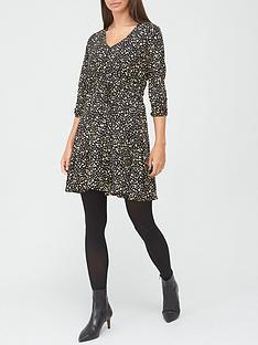 v-by-very-v-neck-drawstring-mini-dress-spot-print