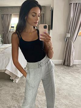 michelle-keegan-double-strap-ribbed-cami-top-black