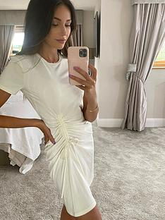 michelle-keegan-ruched-side-t-shirt-dress-cream