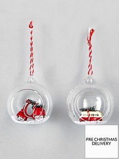 sass-belle-set-of-2nbspxmas-scooter-and-campervan-christmasnbsptree-decorations