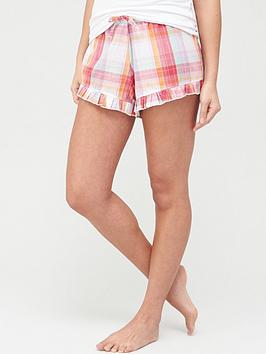 Pour Moi Pour Moi Cotton Check Frill Shorts - Multi Picture