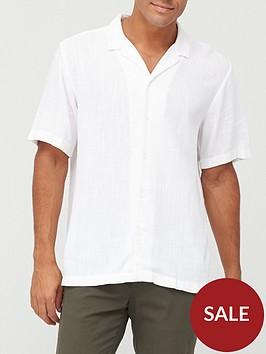 river-island-short-sleevednbsplinen-revere-collar-shirtnbsp-nbspwhite