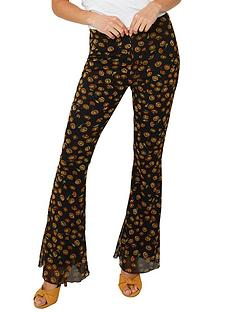 joe-browns-floral-flared-trousers-black