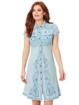 Joe Browns Joe Browns Button Through Embroidered Dress - Blue Picture