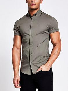 river-island-short-sleevenbspmuscle-fit-shirt-khaki