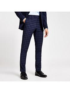 river-island-check-skinny-fit-suit-trousers-blue