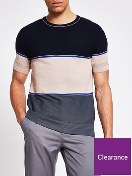 river-island-short-sleeve-textured-blocked-t-shirt-multi
