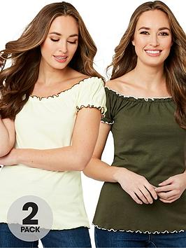 Joe Browns Joe Browns All New 2-Pack Gypsy Top - Khaki/Olive Picture