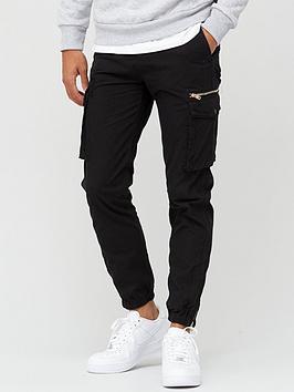 river-island-zeus-cargo-trouser-black