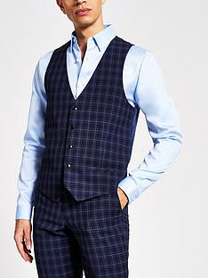 river-island-check-skinny-fit-waistcoat-blue
