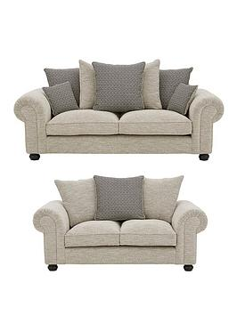 Product photograph showing Harley Fabric 3 Seater 2 Seater Scatter Back Sofa