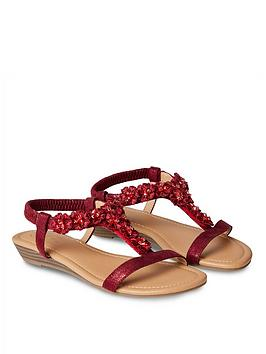 Joe Browns Joe Browns Turning Heads Shimmer Sandals - Ruby Picture