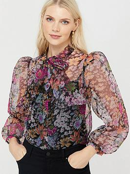 Monsoon Monsoon Fiona Floral Pussy Bow Organza Blouse - Black Picture
