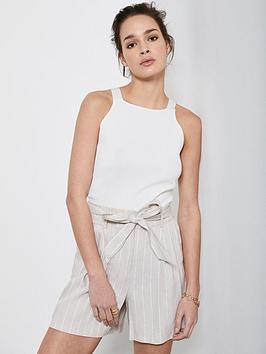 Mint Velvet Mint Velvet Striped Paperbag Shorts - Beige Picture