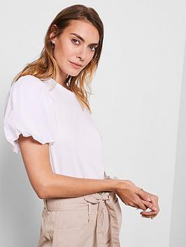 Mint Velvet Mint Velvet Puff Sleeve T-Shirt - White Picture