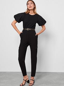 Mint Velvet Mint Velvet Puff Sleeve T-Shirt - Black Picture