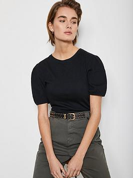 Mint Velvet Mint Velvet Crinkle Puff Sleeve Top - Black Picture