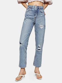 Topshop Topshop 32' Editor Ripped Jeans - Mid Blue Picture