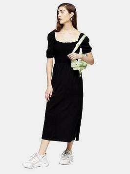 Topshop Topshop Shirred Midi Dress - Black Picture