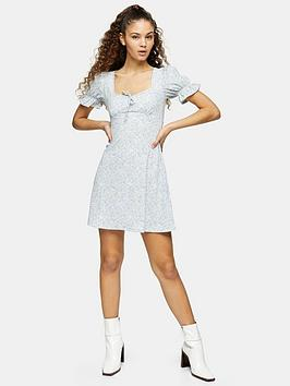 Topshop Topshop Crinkle Mini Tea Dress - Blue Picture