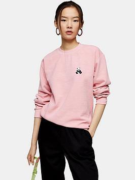 Topshop Topshop Panda Emoji Sweatshirt - Pink Picture