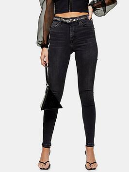 Topshop Topshop 32' Zip Hem Jamie Jeans - Washed Black Picture
