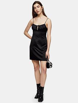 Topshop Topshop Tie Bustier Mini Slip Dress - Black Picture