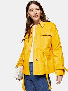 topshop-crinkled-crop-coat-yellow