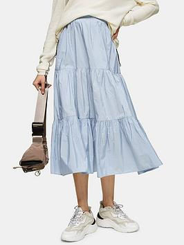 Topshop Topshop Taffeta Tiered Midi Skirt - Blue Picture