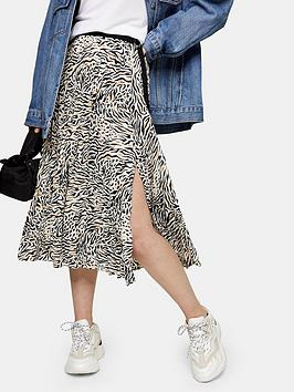 Topshop Topshop Contrast Zebra Pleat Midi Skirt - Mono Picture