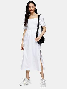 Topshop Topshop Shirred Midi Dress - White Picture