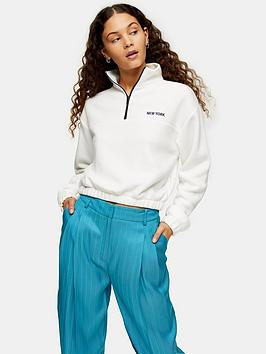 Topshop Topshop New York Soft Funnel Neck Top - White Picture