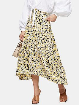 Topshop Topshop Daisy Tiered Midi Skirt - Yellow Picture