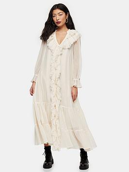 Topshop Topshop Petite Chiffon Ruffle Maxi Dress - Ivory Picture