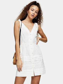 Topshop Topshop Pintuck Button Down Mini Dress - Ivory Picture