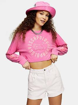 Topshop Topshop Crop Long Sleeve Top - Pink Picture