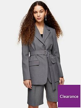 topshop-tonic-belted-blazer-grey
