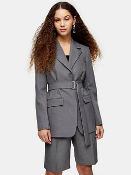 Topshop Topshop Tonic Belted Blazer - Grey Picture