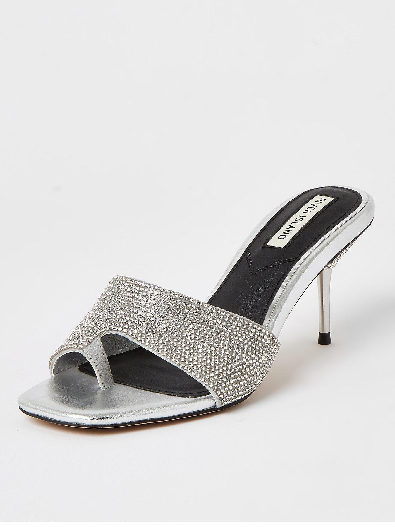 """SPARKLE GIRLZ 12/"""" BARBIE DOLL SHOES SILVER STRAPPY PEEP TOE HIGH HEEL SANDALS"""