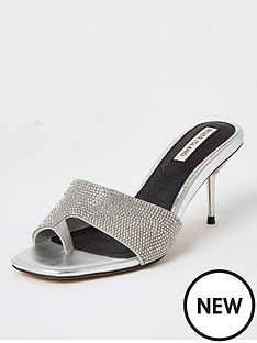 river-island-diamante-toe-loop-mule-sandal-silver