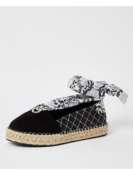 River Island River Island Tie Up Espadrille Shoes - Black Picture