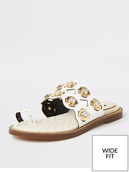 river-island-wide-fit-cut-out-embellished-sandals-white