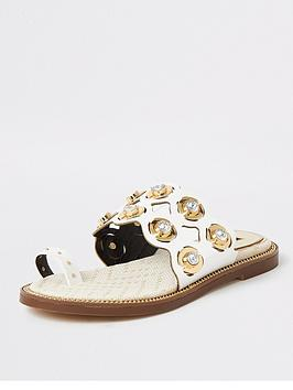 River Island River Island Wide Fit Cut Out Embellished Sandals - White Picture