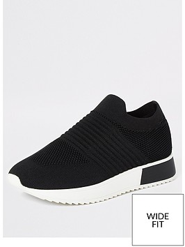 river-island-wide-fit-knit-runner-trainers-black