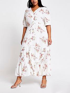 RI Plus Ri Plus Printed Smock Shirt Midaxi Dress - Cream Picture